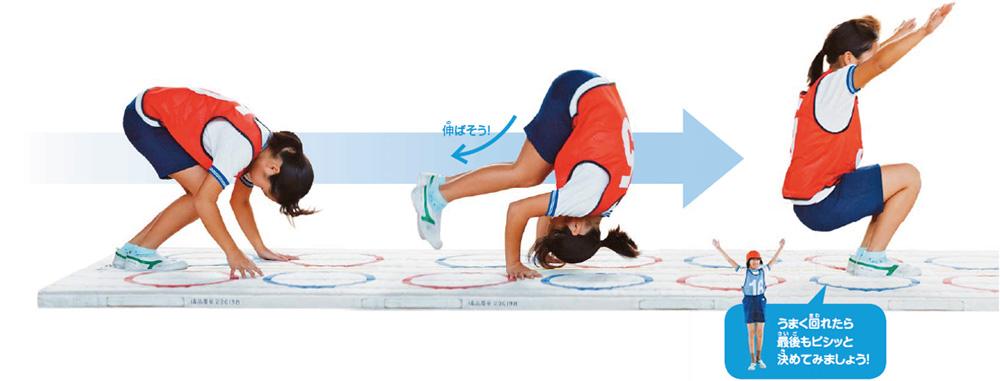 前転の流れ 足を曲げた状態でスタートし、回り始めたら伸ばし、最後にもう一度曲げる うまく回れたら最後もピシッと決めてみましょう!