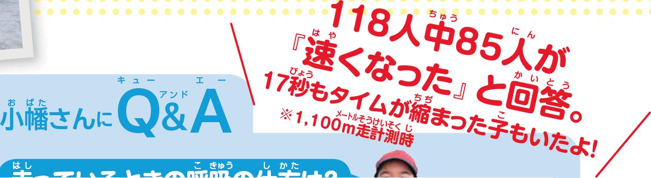 小幡さんに質問 118人中85人が速くなったと回答 17秒もタイムが縮まった子もいたよ! ※1,100m計測時