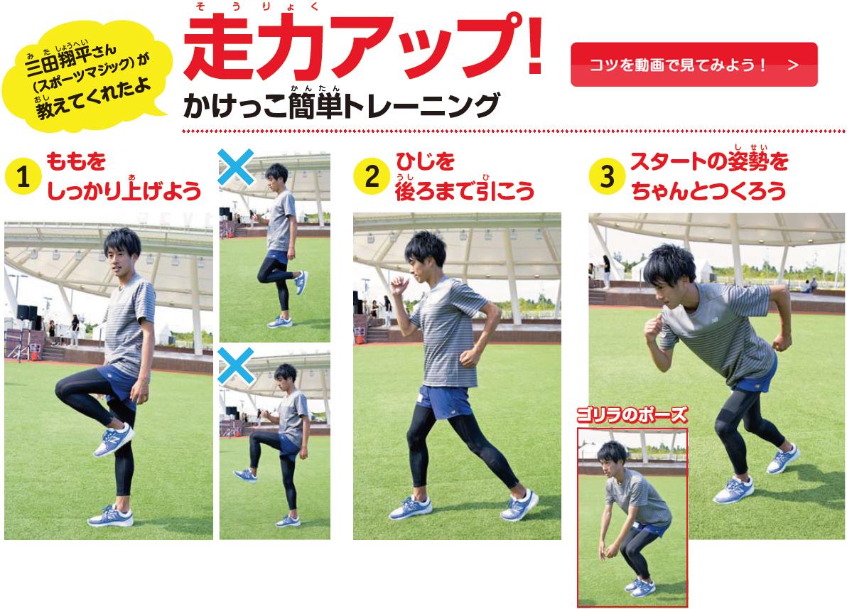 三田翔平さん(スポーツマジック)が教えてくれたよ 走力アップ!かけっこ簡単トレーニング コツを動画で見てみよう!