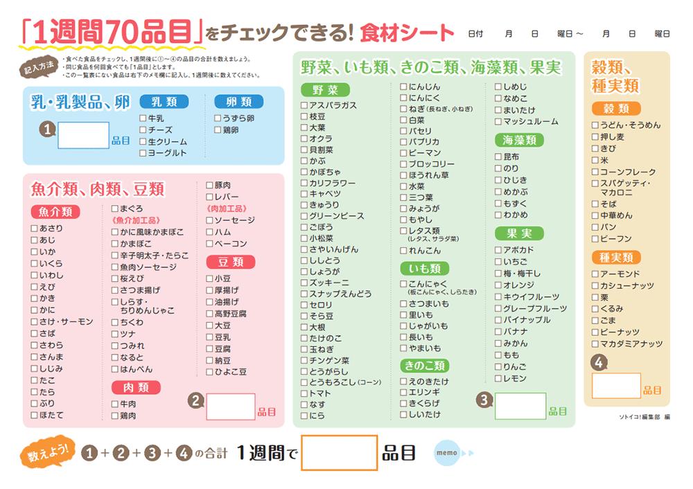元気もUP! 学力もUP! 「1週間70品目」食材チェックシート – ソトイコ!