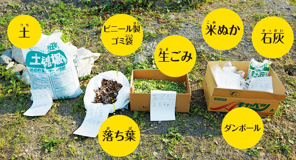 土 ダンボール ビニール製ゴミ袋 生ゴミ 石灰 落ち葉 米ぬか