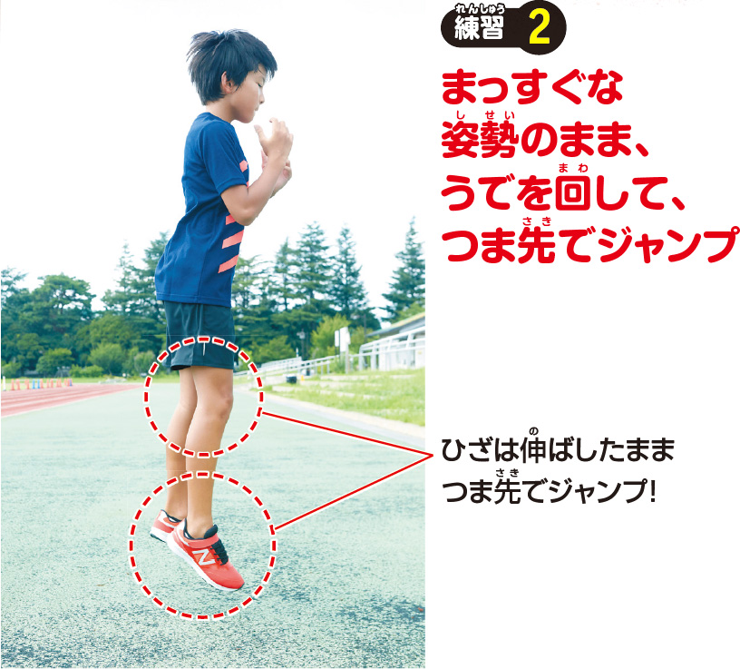 練習2 まっすぐな姿勢のまま、うでを回して、つま先でジャンプ ひざは伸ばしたままつま先でジャンプ!