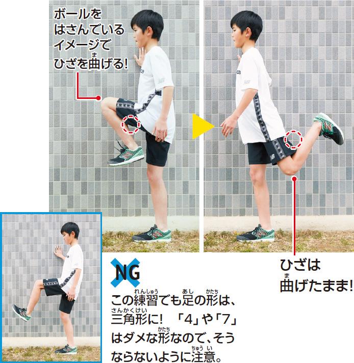 ボールをはさんでいるイメージでひざを曲げる! ひざは曲げたまま足をふる! (NGの形 この練習でも足の形は、三角形に! 4や7はダメな形なので注意!