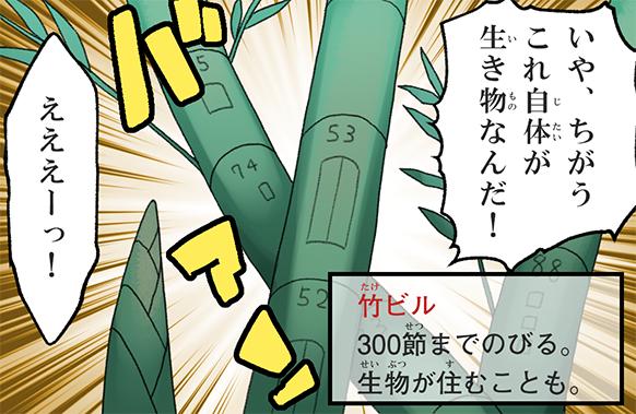 いや、ちがう!これ自体が生き物なんだ! えええーっ! 竹ビル 300節までのびる。生き物が住むことも。